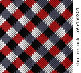 knitted seamless pattern in... | Shutterstock . vector #595450301