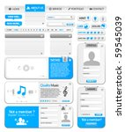 Web elements collection 1 with silver and blue color