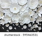 Stock photo beautiful group of variety style handmade quilling white floral pattern with small butterfly made 595463531