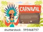 brazil carnival latin woman... | Shutterstock .eps vector #595468757