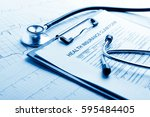 health insurance form with... | Shutterstock . vector #595484405
