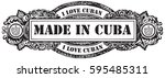 i love cuban  stamp made in... | Shutterstock .eps vector #595485311
