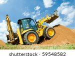 wheel loader excavator with... | Shutterstock . vector #59548582