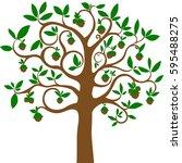 hazelnuts tree isolated on... | Shutterstock .eps vector #595488275