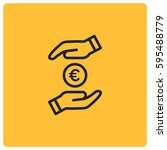 save money vector icon  euro... | Shutterstock .eps vector #595488779