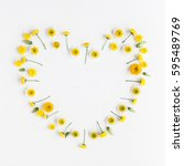 flowers composition. heart... | Shutterstock . vector #595489769