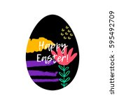 happy easter greeting card.... | Shutterstock .eps vector #595492709