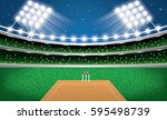 cricket stadium with neon... | Shutterstock .eps vector #595498739