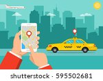 booking taxi via mobile app....   Shutterstock .eps vector #595502681