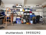 suburban garage mess.  boxes ... | Shutterstock . vector #59550292