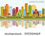 vancouver skyline with color... | Shutterstock . vector #595504469