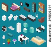 furniture element set isometric ... | Shutterstock .eps vector #595508999