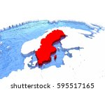 map of sweden on globe with... | Shutterstock . vector #595517165