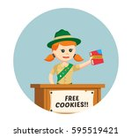 girl scout sharing cookies for...