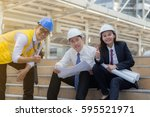architect team showing thump up ... | Shutterstock . vector #595521971