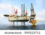 offshore construction platform... | Shutterstock . vector #595523711