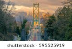 Stock photo lions gate bridge in sunset vancouver bc canada 595525919