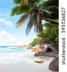 beautiful tropical  sand beach... | Shutterstock . vector #595536827