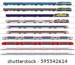 passenger train. railway... | Shutterstock .eps vector #595542614