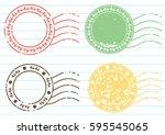 blank label postage stamps set... | Shutterstock .eps vector #595545065