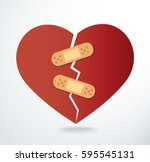 sticking plaster on broken... | Shutterstock .eps vector #595545131