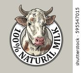 cows head. 100   natural milk.... | Shutterstock .eps vector #595547015