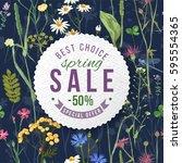 spring sale round paper emblem... | Shutterstock .eps vector #595554365