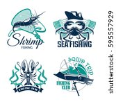 sea fishing trip vector icons... | Shutterstock .eps vector #595557929