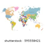 map of the world with countries ... | Shutterstock .eps vector #595558421