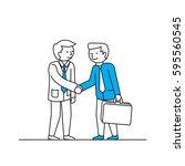 business men handshake. vector... | Shutterstock .eps vector #595560545