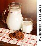 milk and cookies. | Shutterstock . vector #595562861