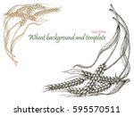 wheat background and template... | Shutterstock .eps vector #595570511