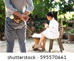 romantic concept with man happy ... | Shutterstock . vector #595570661