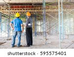 two business man construction... | Shutterstock . vector #595575401