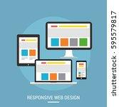 responsive web design concept... | Shutterstock .eps vector #595579817