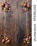 delicious chocolate easter... | Shutterstock . vector #595581335