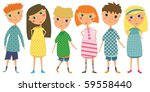 set of 6 kids in cute clothes | Shutterstock . vector #59558440