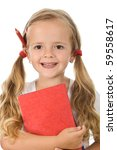 Little schoolgirl portrait with books and pencil behind the ear - isolated, closeup - stock photo