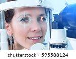 checking eyesight in a clinic...   Shutterstock . vector #595588124