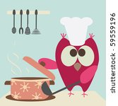 Cute Owl With A Bawl Cooking In ...