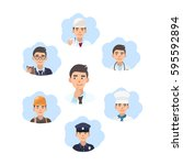 career choice concept. young... | Shutterstock .eps vector #595592894