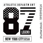 new york america flag... | Shutterstock .eps vector #595595414