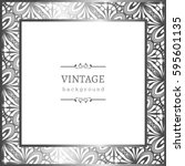 vintage silver photo frame with ... | Shutterstock .eps vector #595601135