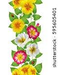 vertical border. floral... | Shutterstock . vector #595605401