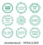 vintage shop signages. vector...   Shutterstock .eps vector #595611305