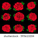 flowers roses  red buds and...   Shutterstock .eps vector #595613204