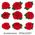 flowers roses  red buds and...   Shutterstock .eps vector #595613207