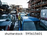 recycling of old used  wrecked... | Shutterstock . vector #595615601