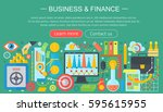 business and finance flat icons ... | Shutterstock .eps vector #595615955
