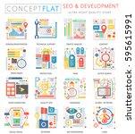 infographics mini concept seo... | Shutterstock .eps vector #595615991